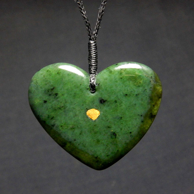 Jade Heart Pendant With Inlaid Gold Nugget